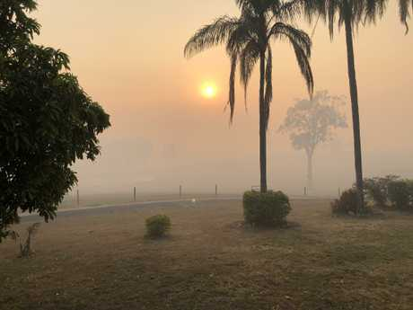 The view from our front lawn at 5am during the fires. Picture: Tom Marland