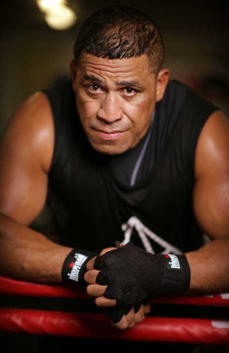 Former NRL player John Hopoate in the boxing ring. Picture: Christian Gilles