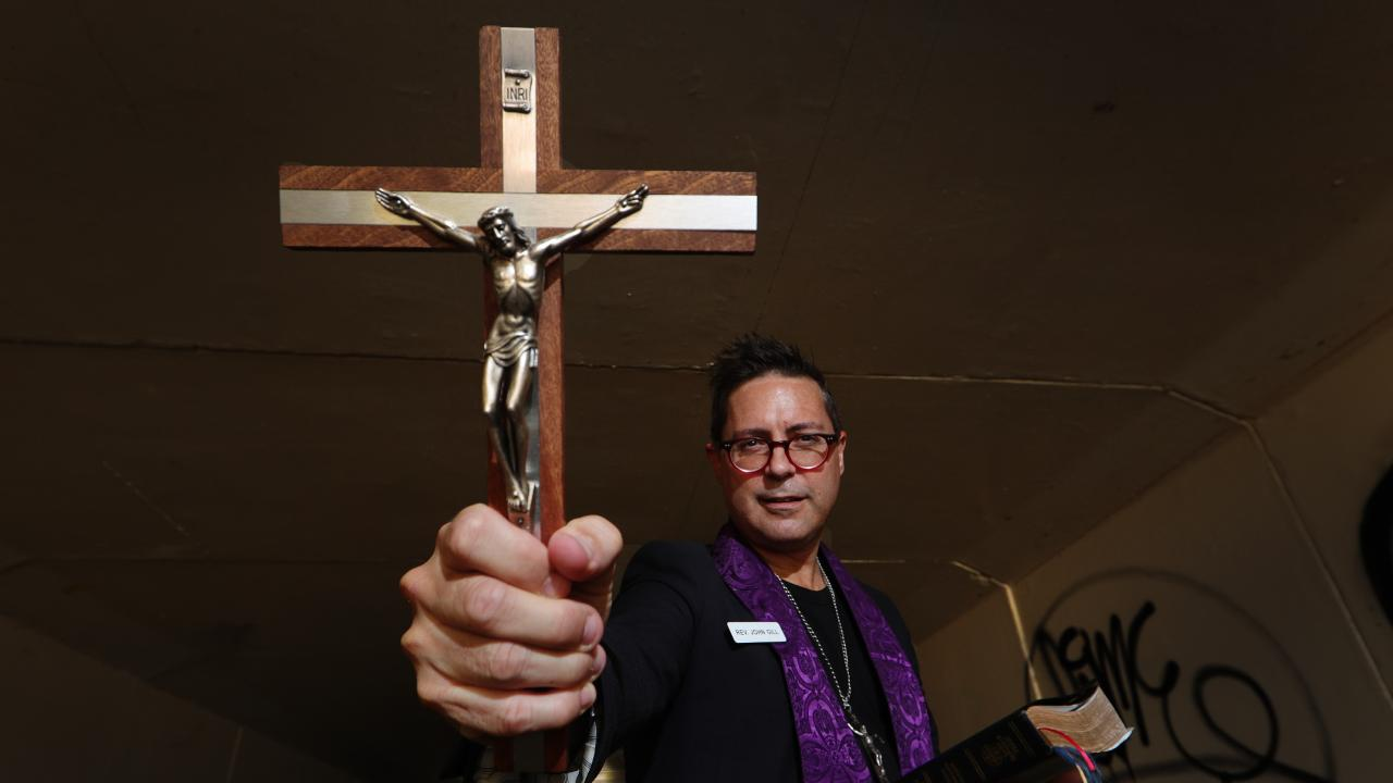 Rev John Gill is one of the only exorcists in the country, and will be talking about the dark side of the Gold Coast at Carrara Community Centre on Monday 28th January. Picture Glenn Hampson