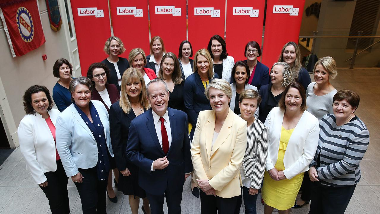 Labor leader Bill Shorten and deputy leader Tanya Plibersek with the ALP female candidates who will contest next year's election. Picture: Danny Aarons