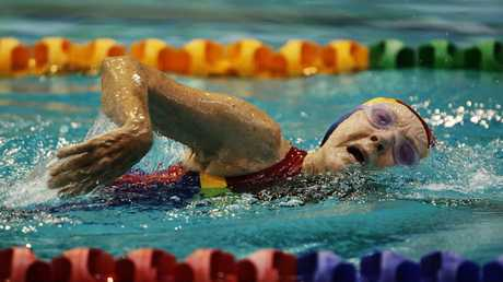 91 year old Joan Godsall competing for Australia in the over 85 women's 100m freestyle final at the 2009 World Masters Games in Sydney, at the age of 91.