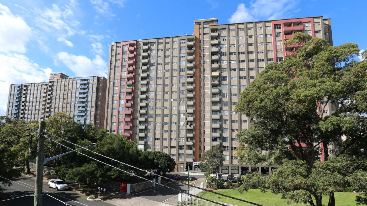"A series of public housing apartment blocks known as the ""Three Sisters"" in Sydney's Redfern has been plagued with problems for years. Picture: Craig Greenhill."