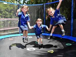 Triple the fun on first day of school