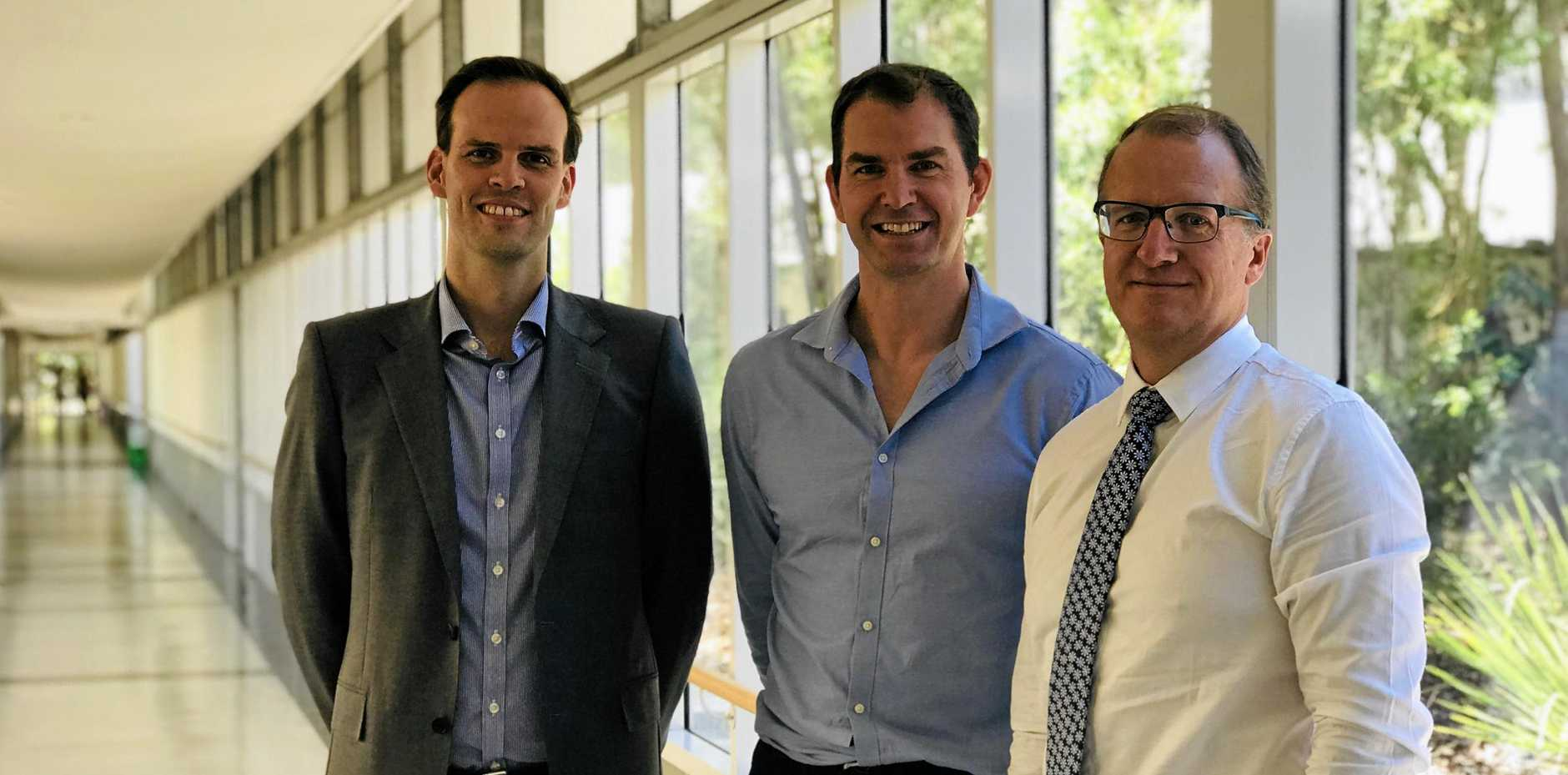 WELCOMED: Orthop edic surgeons Dr Frank Connon, Dr Mark Robinson and Dr Gerard Kilian .