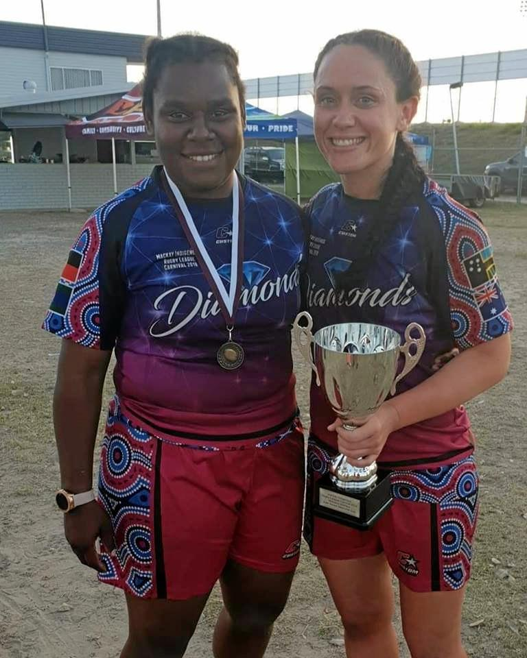 Layla Fauid and Brittany Breayley playing for the Diamonds at the Mackay Indigenous Carnival last year.