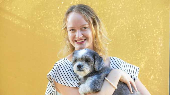 SAVIOUR: Jemma Eather with dog Molly, who she saved from being eaten by a snake last week.