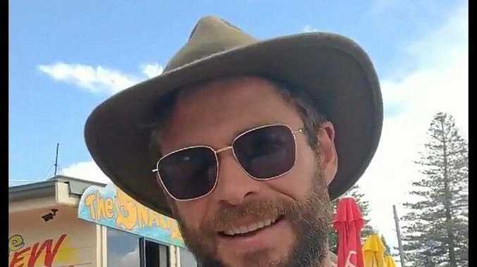 Chris Hemsworth as snapped at Brooms Head in March last year. Rumours about him looking to buy property there abound.