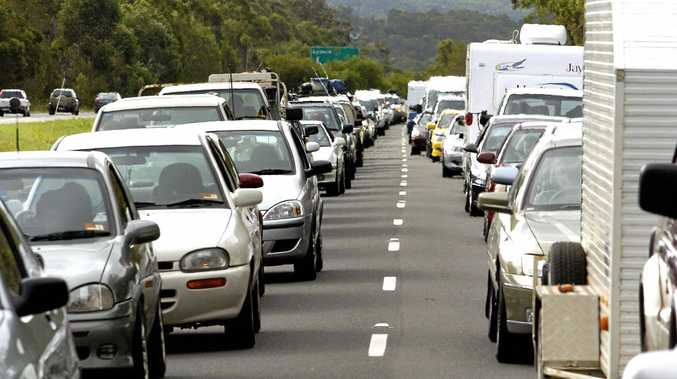 File: Traffic is blocked after a truck crash on the southbound lanes of the Bruce Highway this afternoon.