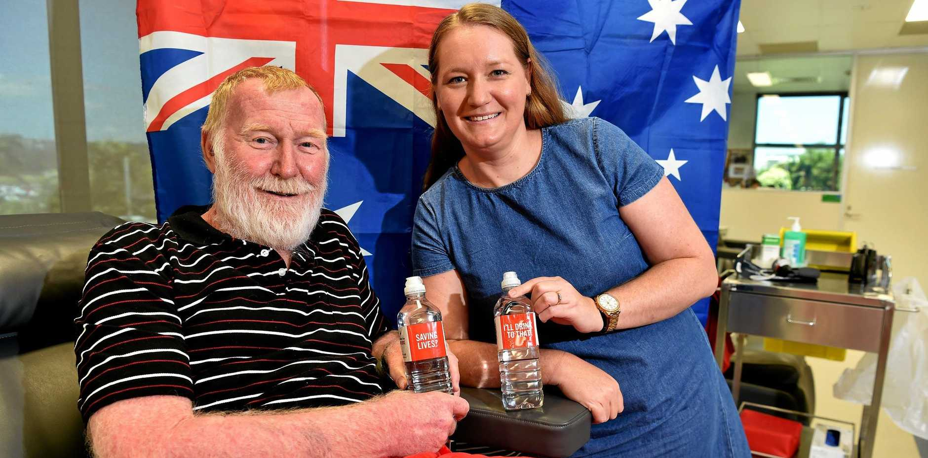 COMMUNITY SPIRIT IN THEIR VEINS: Bob Walker and his daughter Sarah King, ready to give blood for the Australia Day long weekend.