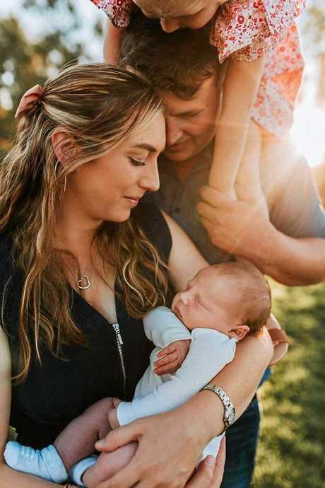 HAPPY FAMILY: Kayla, Mitchell, Isabella, 3, and Hamish Haidley.