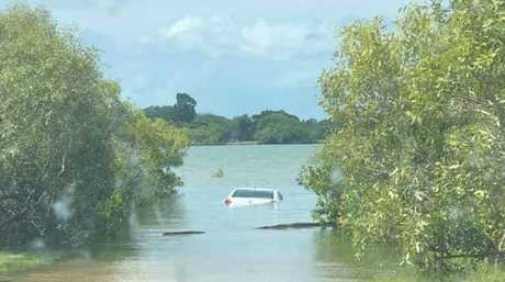 Car seen in the Pioneer River behind Caneland Central. Source: Facebook