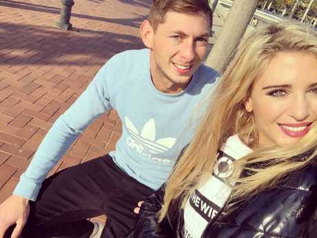 Missing football star Emiliano Sala with his ex-girlfriend.