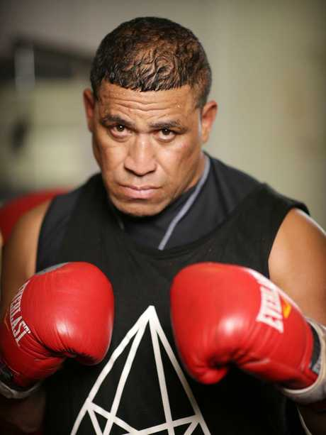 Former NRL player John Hopoate at the PCYC gym in Redfern. Picture: Christian Gilles