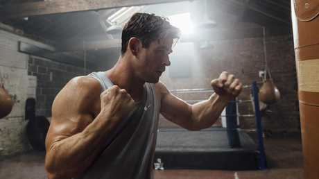 Chris Hemsworth in the gym for his new app Centr. Picture: Greg Funnell
