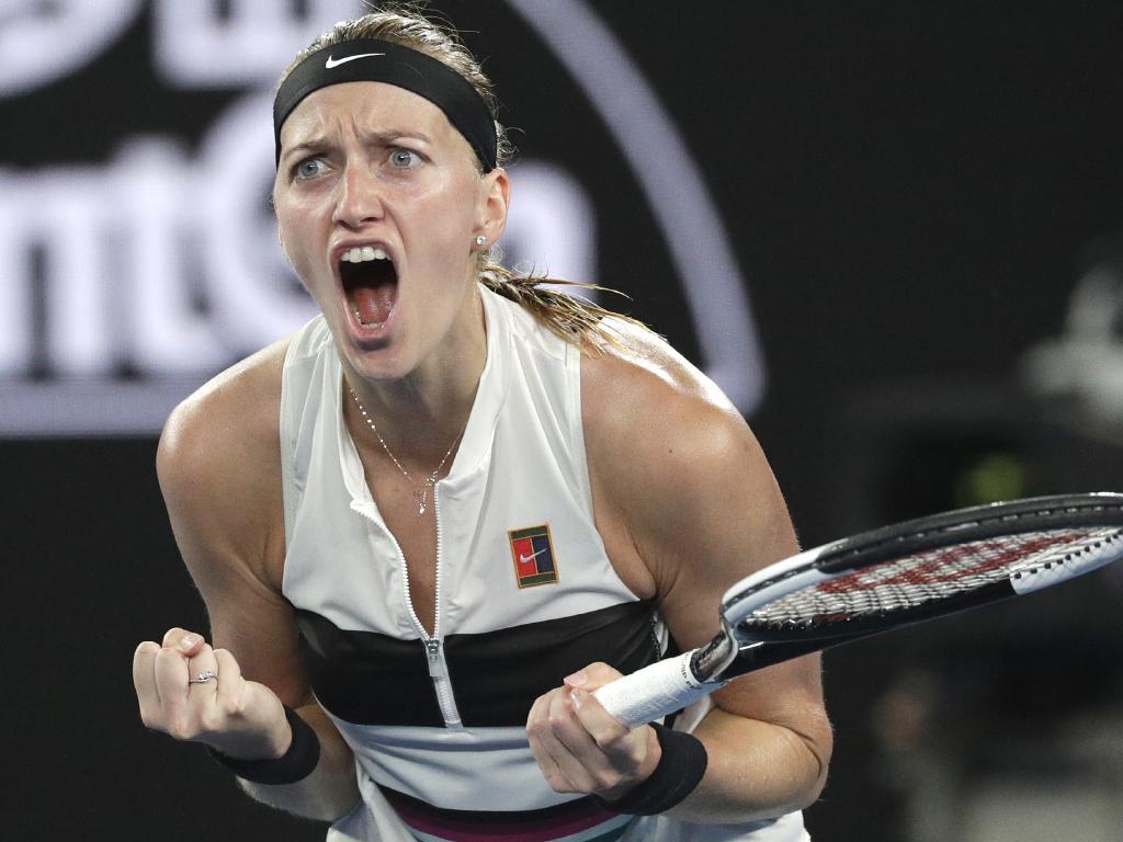 Petra Kvitova celebrates her victory over American Danielle Collins. Picture: AP