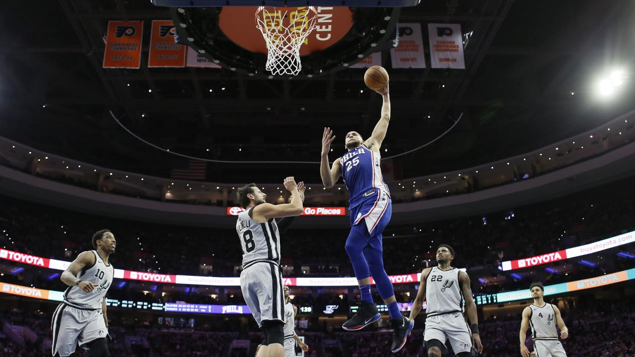 Ben Simmons rises to the rim against San Antonio.