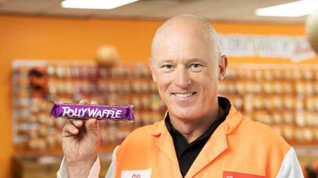 Robern Menz chief executive Phil Sims with a Polly Waffle. They bought it off Nestle.