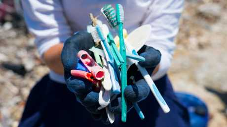 Toothbrushes and other random plastic found. Source: Sam Boynton for Corona/Parley/National Geographic