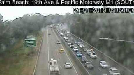 Traffic cameras show the heavy flow of northbound traffic on the M1 at Palm Beach after a major incident closed the motorway around Reedy Creek. Photo: QLDTraffic.qld.gov.au