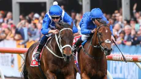 Winx left European raider Benbatl in her wake on the way to a record fourth Cox Plate. Picture: Getty Images