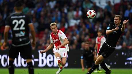 Frenkie de Jong of Ajax shoots on goal