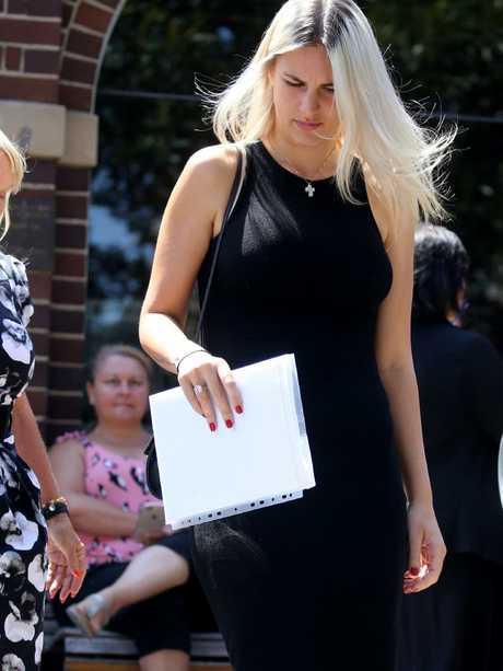 Marina Agostino leaves Manly Court on Wednesday. Picture: John Grainger