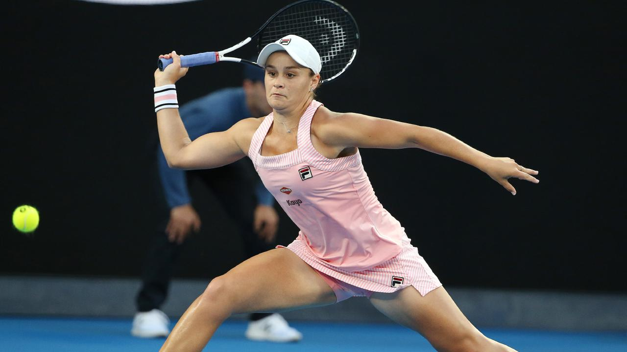 Ash Barty stretches for a wide ball in her quarter-final clash. Picture: Michael Klein