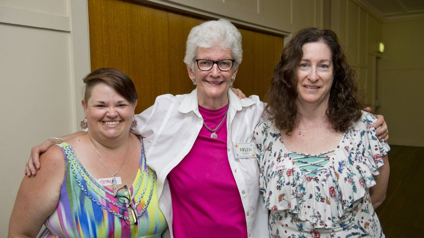 ( From left ) Stacy Sollitt, Helen Ruby and Anne O'Sullivan at the Toowoomba Red Tent January Collective Wisdom Circle. saturday, 12th Jan, 2019.