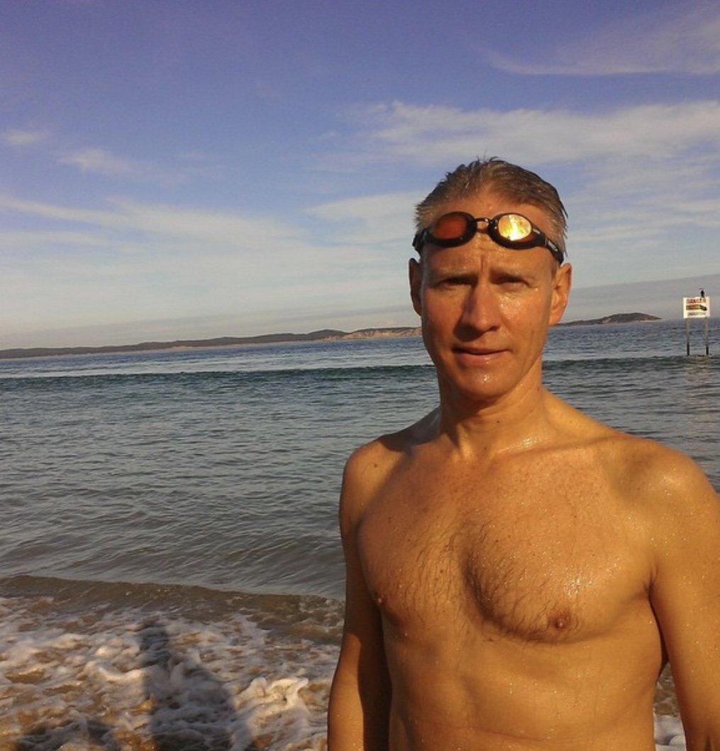 Brother Tim will meet Cam halfway through the fundraising Aussie Day swim