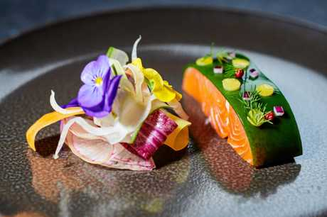 Chef Bruno Menard's kitchen, lightly cooked Tasmanian trout, chlorophyll jelly, wasabi.