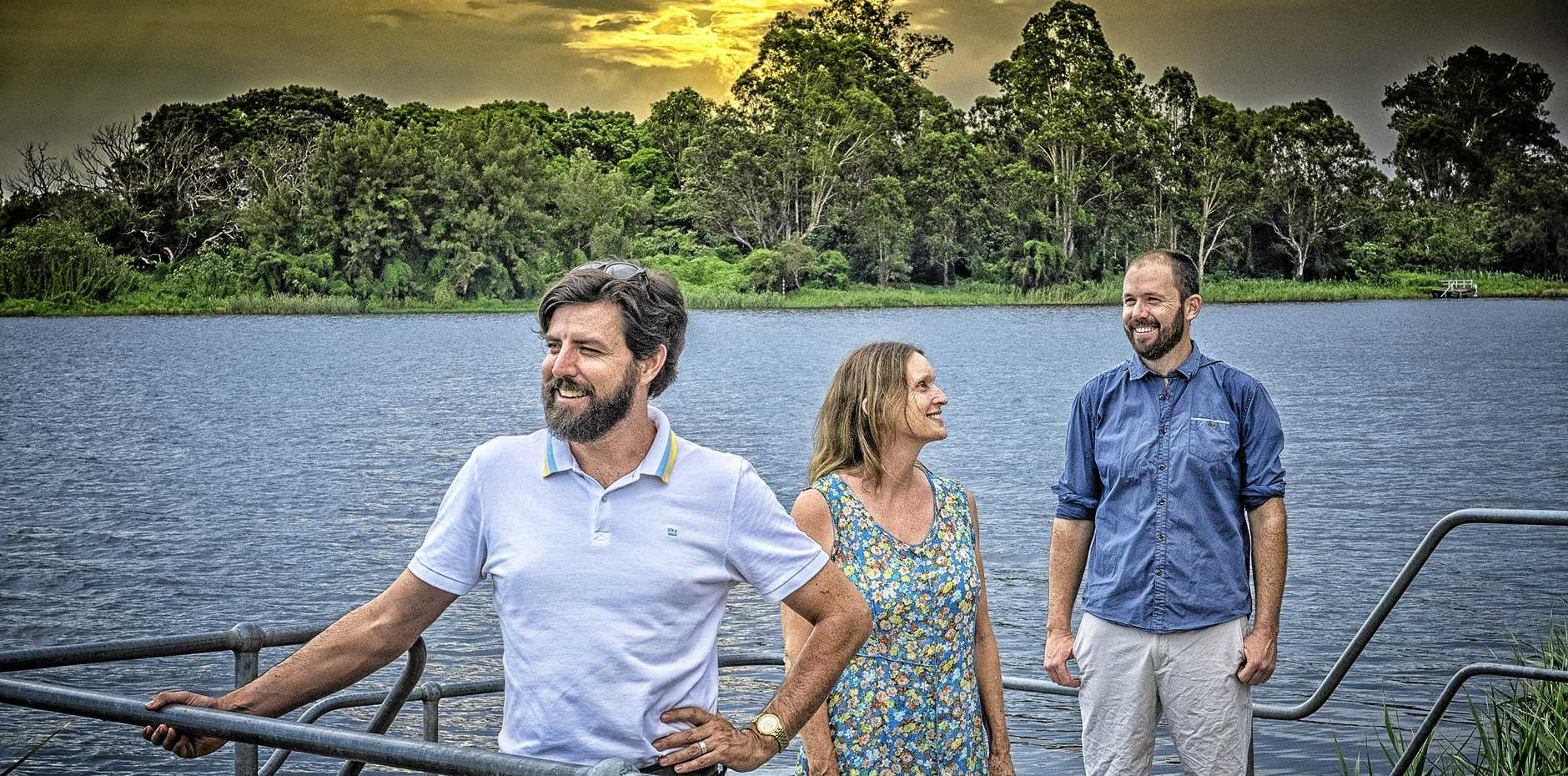 Organisers of the new 53 Islands project Glen McClymont, Claire Aman and Kieran McAndrew in front of Susan Island, near Grafton.