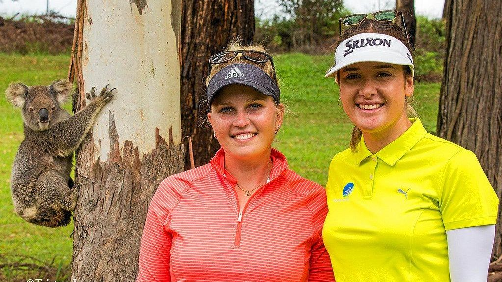 ON TOUR: Nanna Madsen and Hannah Green get up close and personal with one of Bonville's locals during the 2018 Australian Ladies Classic.