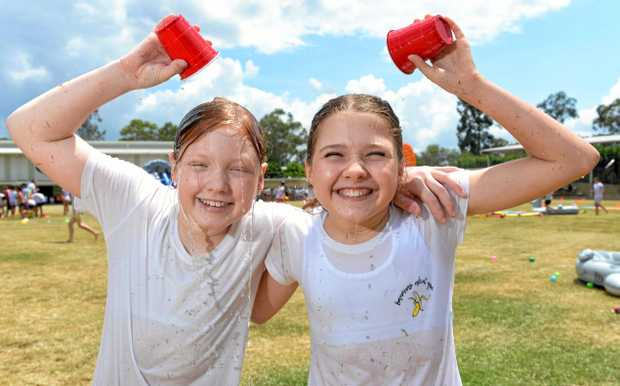 Springfield Lakes State School held a special water themed end-of-year celebration at the school on Wednesday. Students Ella Rowley and Kate Ristoski.