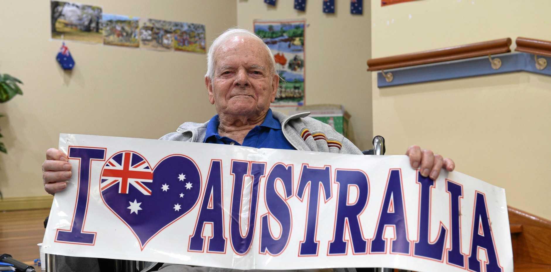 Bob Larter shows off his patriotism.