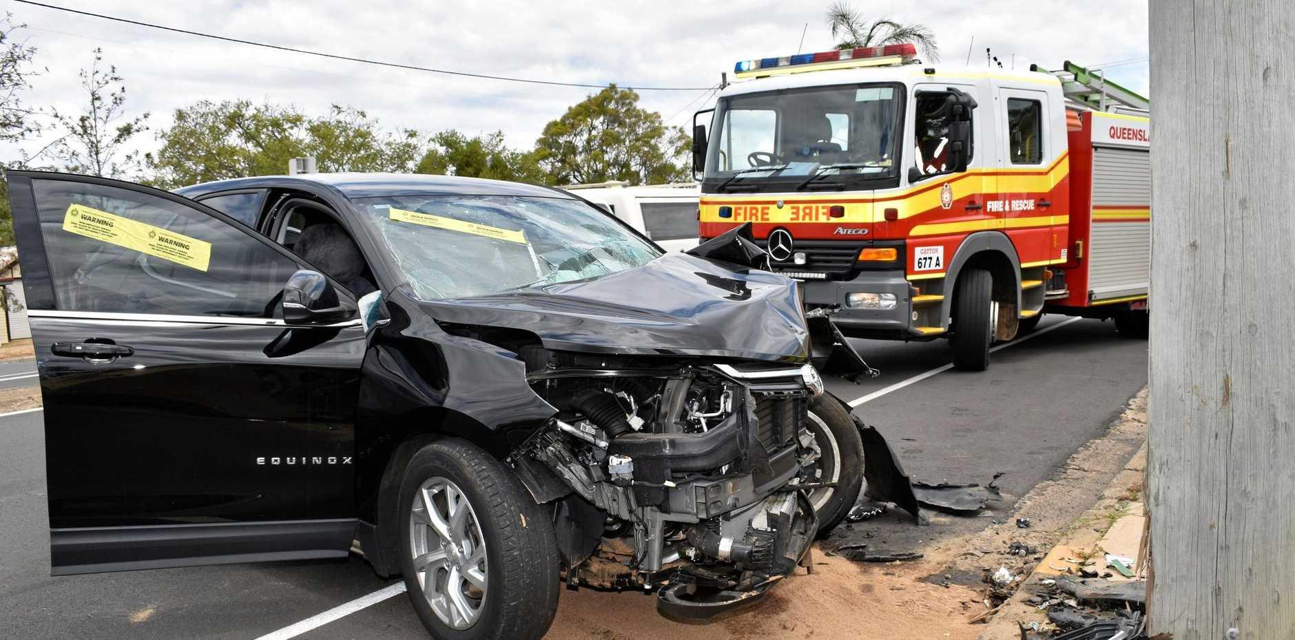 ACCIDENT: Car crashes into a pole at Gatton.