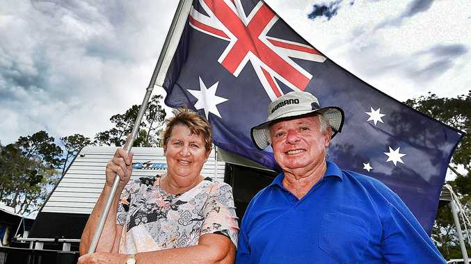Australia Day weather - Ron and Carole Howlett from Maryborough on their annual holiday to Scarness Caravan Park.