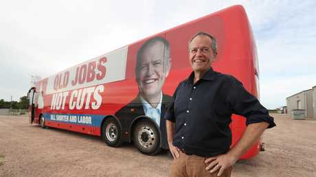 Opposition leader Bill Shorten with the 'Bill Bus', on its way to Townsville, at Ayr. Picture: Lyndon Mechielsen/The Australian