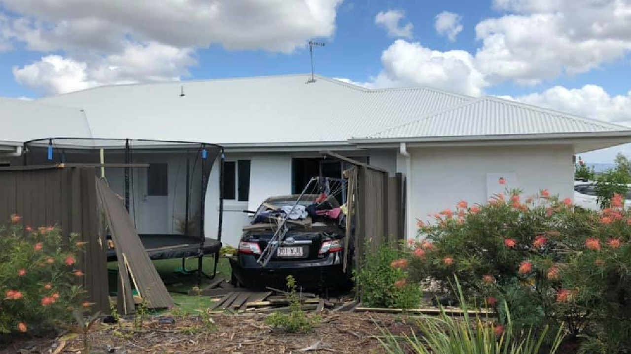 The car lodged in Karl and Kerry Bird's house. Picture: Karl Bird
