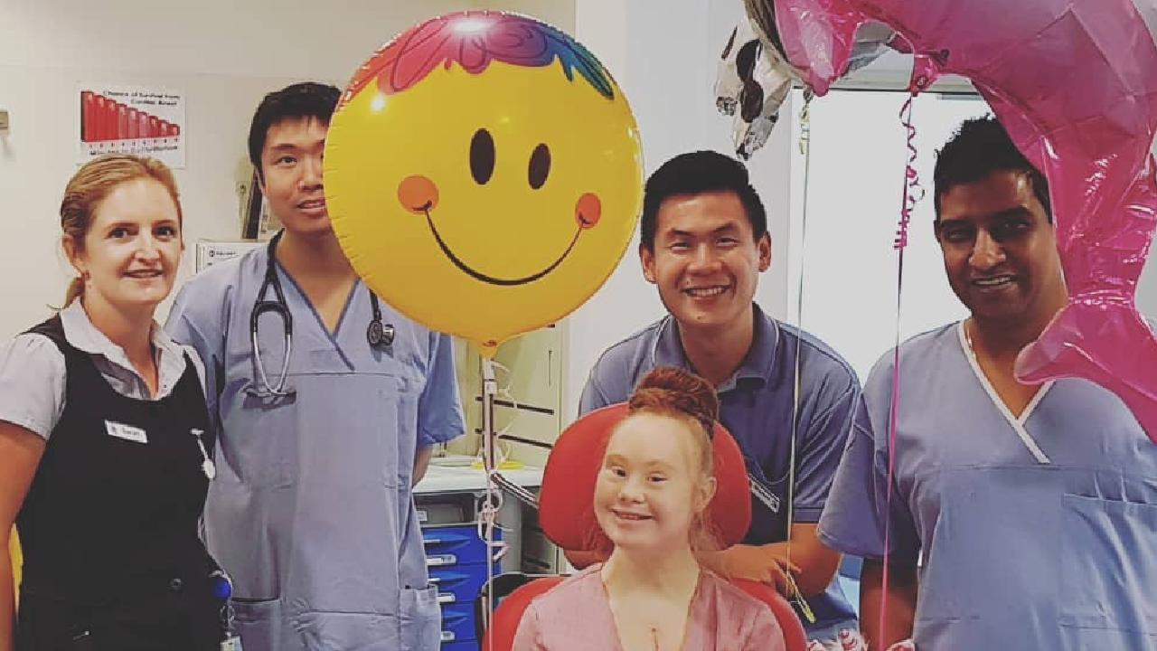 Madeline Stuart leaving hospital 26 days after open heart surgery. Picture: Instagram