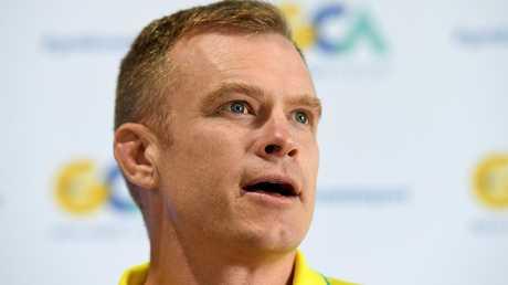 Australian sevens coach Tim Walsh talks to the media.