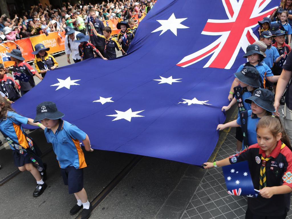 Kids at an Australia Day parade in Melbourne. Picture: David Crosling