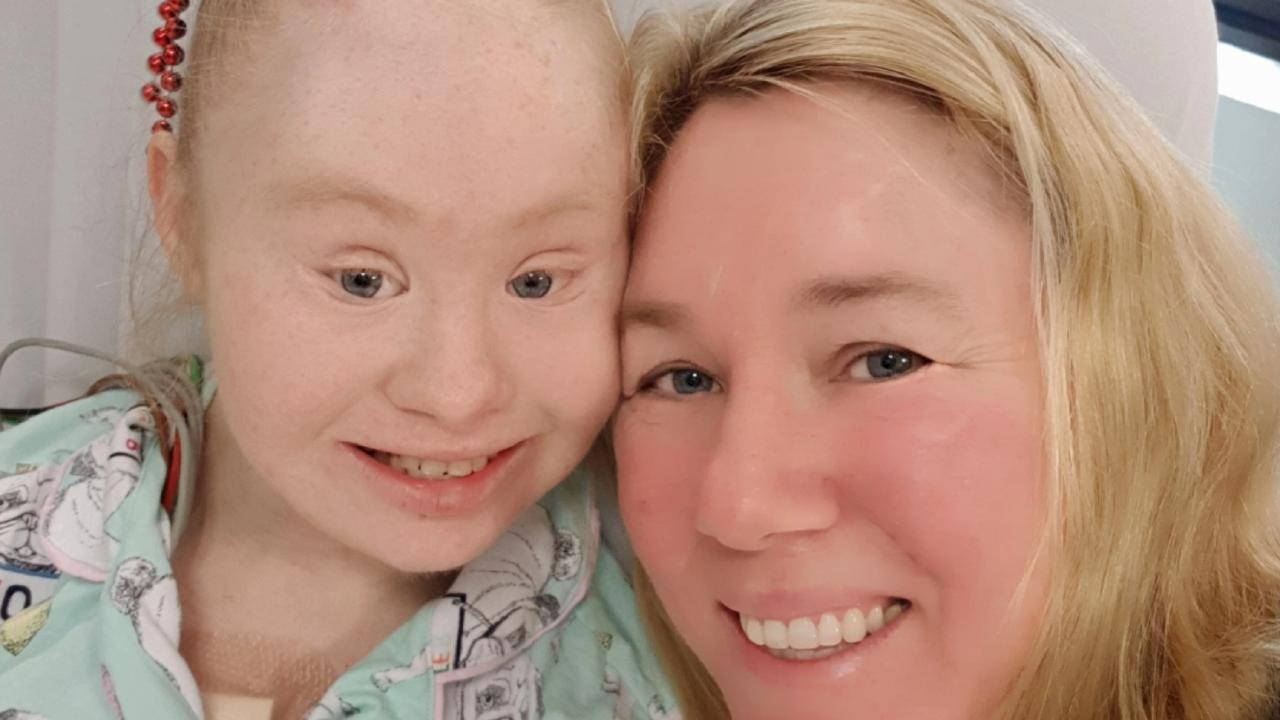 Madeline Stuart with her mum Rosanne in hospital following open heart surgery. Picture: Supplied