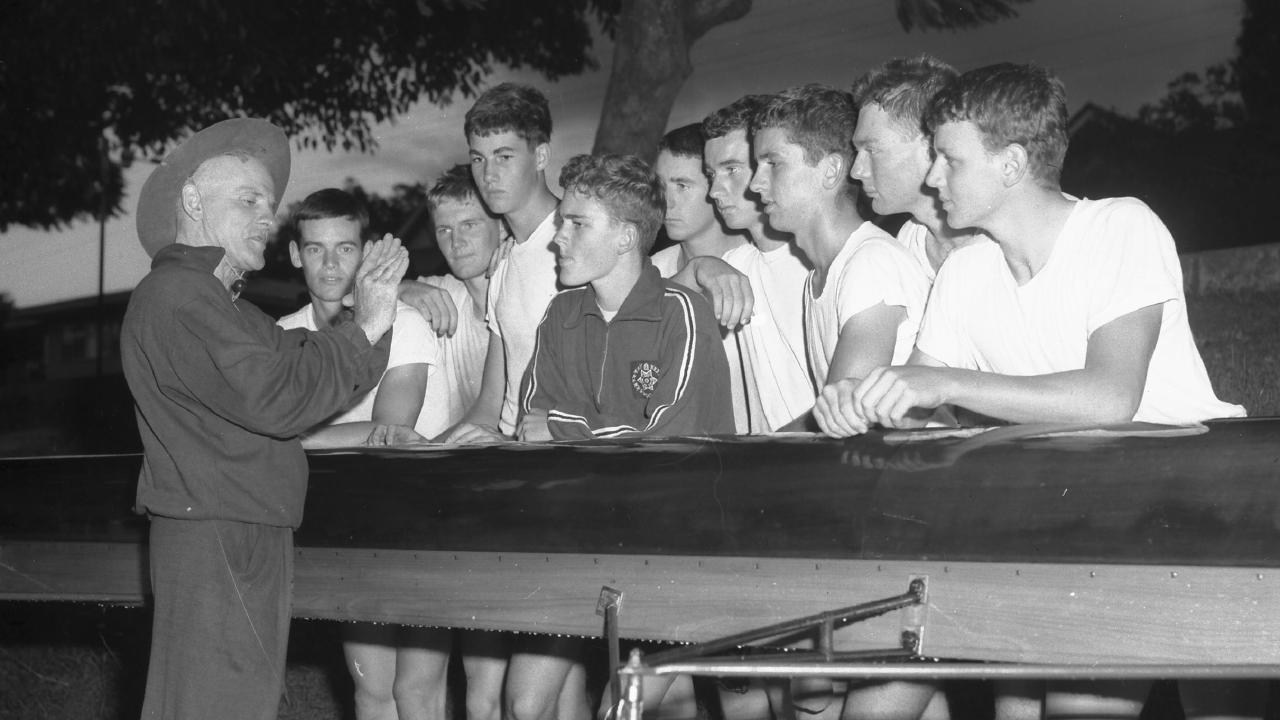 Brisbane Boys' College rowing coach David Magoffin with his crew in 1962. Picture: Noel Pascoe)