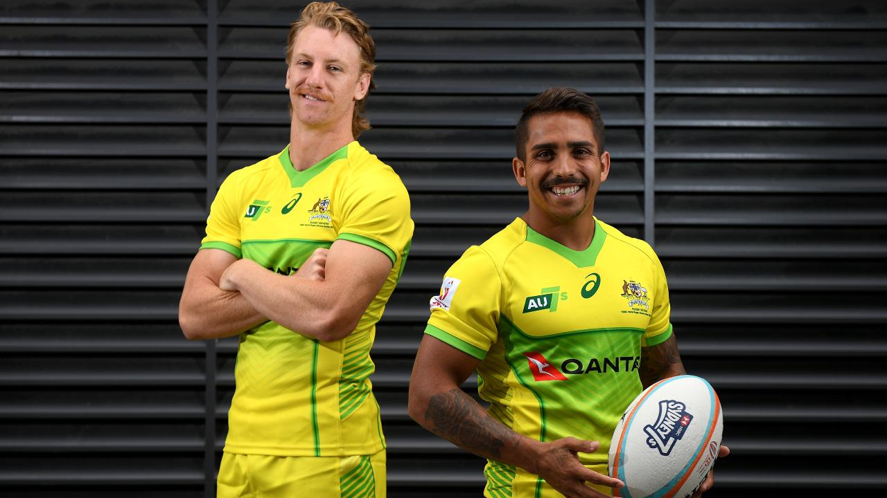 Australian sevens players Ben O'Donnell and Maurice Longbottom.