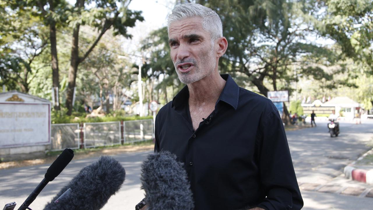 Craig Foster talks to journalists after visiting Hakeem al-Araibi earlier this week. Picture: AP