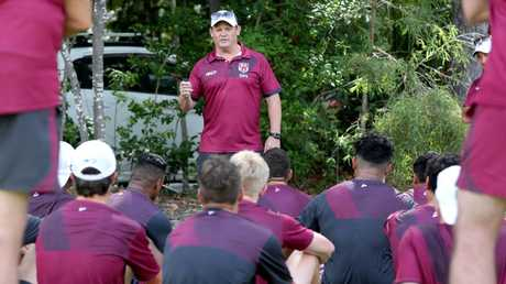 Maroons coach Kevin Walters speaks to some of the Queensland emerging Origin squad on the Sunshine Coast. Picture: AAP/Steve Pohlner