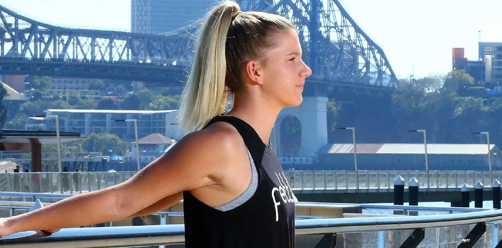 Paige Parker by the Brisbane River. Picture: Liam Kidston