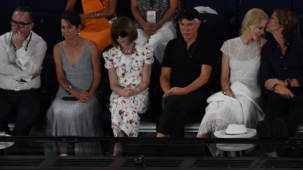 Qantas CEO Alan Joyce (left) Director of Tennis Australia Jayne Hrdlicka, Anna Wintour (third left), Baz Luhrmann (third right), Nicole Kidman and Keith Urban. Picture: AAP