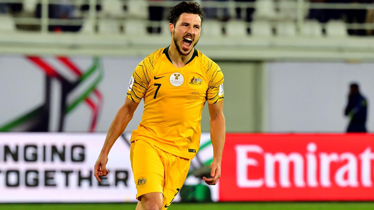 Mathew Leckie was stopped from answering a question about detained soccer player Hakeem al-Araibi. Picture: AFP