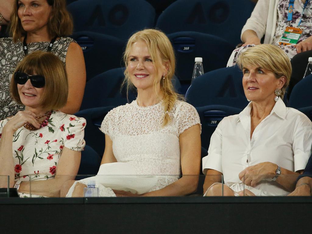 Australian Open Tennis. Day 10. Womens semi final. Petra Kvitova vs Danielle Collins. Nicole Kidman watches the tennis along side Julie Bishop and Anna Wintour. Picture: Michael Klein